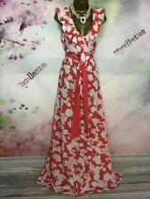 BNWT MONSOON FLEUR FULL LENGTH MAXI CORAL/WHITE DITSY FLORAL DRESS SIZE 18-20