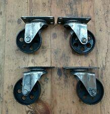 Stile Vintage in ghisa di ricino industriale girevole Caster Nero Ruote Set Di 4