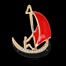 Alloy Sport Pin and Brooch Sailing Boat Rhinestone Crystal Gold Plated