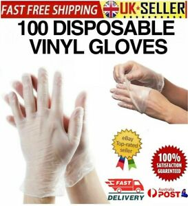 100PCS Disposable Vinyl Gloves Powder Latex Free Work Strong Tattoo Food BOX UK