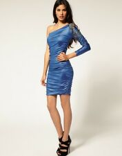 Rare BLUE One Sleeve Off the Shoulder Embellished Bodycon Dress, Size 10