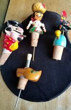 WINE/LIQUOR STOPPER, POURER CORK FIGURES. FRANCE,HOLLAND,PORTUGAL ETC.,