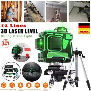 3D Laser Level 12 Lines 360° Selbstnivellierend Kreuzlinienlaser Wasserwaage KIT