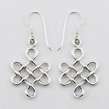 Silver earrings hook drop 925 sterling silver celtic dangle 38mm height fashion