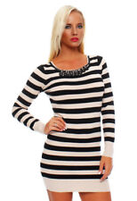Stripes Short Dresses for Women with Knit