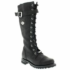 Harley Davidson Savannah Black Womens Leather Tall Motorcycle Boots