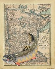 Brook Trout Unlimited Fly Fishing Club Minnesota State Map Art Print Flies MAP18