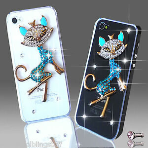 3D LUJOSO LUJO BRILLANTES ANIMAL GATO CASO DIAMANTE PARA IPHONE/SAMSUNG SONY HTC