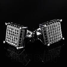18k Black Gold ICED OUT Simulated Diamond Micropave Square Stud HipHop Earring
