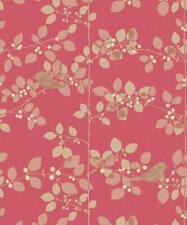 Rasch Tree Blossom Floral Wallpaper Red Gold Beige Metallic Birds Branch Leaf