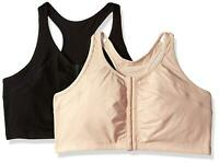 Fruit of the Loom Women's Front Close Racerback (Pack of 2), Sand/Black, Size 42