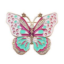 Broche Lazo Insectos Esmalte Verde Rosa Cristal Retro Dorado XZ 4