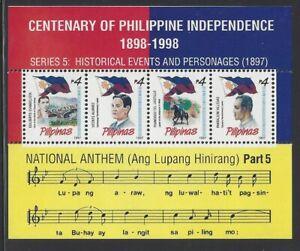 Philippines #MiBl113 MNH S/S CV€8.00 Lupang Hinirang/Anthem/Evangelista [2235]