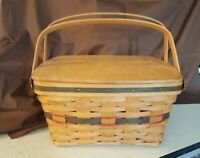 Longaberger 1993 Hostess GREEN HOMECOMING BASKET 12092 Wood Lid & Protector