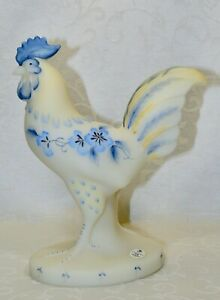 Fenton, Rooster, Ivory Sanded Glass, Hand Decorated.