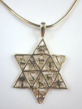 """Gold Plated Star of David Twelve Tribes of Israel Pendant 20"""" Square Snake Chain"""