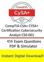 CompTIA CSA+ CYSA+ Certification Cybersecurity Analyst CS0-001 (416q PDF Sim)