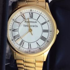 PORTFOLIO TIFFANY & CO. STAINLESS STEEL GOLD TONE QUARTZ SWISS MADE WIRST WATCH
