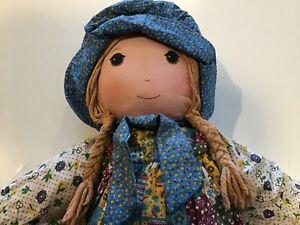 "Vintage 1976 Holly Hobbie Large 27"" Cloth Rag Doll Knickerbocker Original"