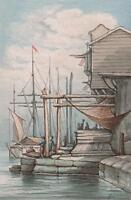 BOATS ON CONTINENTAL HARBOUR  Victorian Watercolour Painting c1890 SEASCAPE