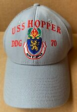 USS HOPPER DDG-70 DESTROYER BASEBALL CAP HAT, GRAY, THE CORPS, NEW NWOT