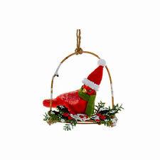 KURT ADLER FESTIVE GLASS RED CARDINAL ON TWIG BIRD SWING XMAS TREE ORNAMENT A