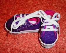 DOLL Shoes 63mm DK PURPLE Sneakers by Monique Gold (with Dk Pink accent lining)