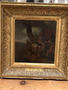 17th Century Oil Painting Of Travellers After Philips Wouwerman