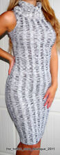 RIVER ISLAND GREY & BLACK SKNNY RIBBED KNITTED BODYCON JUMPER DRESS UK SIZE 10