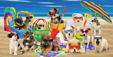 "Dogs Towel Cool Cute Puppies Sunglasses Beach Pool Summer Time 30""x60"""