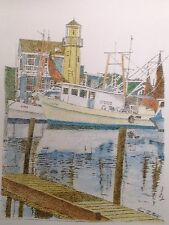 Clear Lake Marina - Small, Art reproduction, artist, ink, realism, architecture