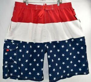 New NBN Gear Swim Trunks USA Red White Blue Star Stripe Men Sz 5XL Elastic Waist