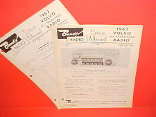 1963 VOLVO PV544 SEDAN 122S P1800 SPORT COUPE BENDIX AM RADIO SERVICE MANUAL 63