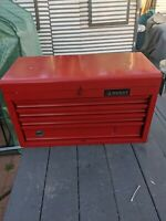 Red Metal Craftsman 4 Drawer Toolbox Cabinet w/Top Lid and Partial Set of Tools