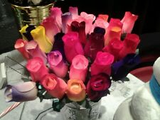 One Dozen Wooden Roses Buds Mixed Color