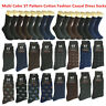 3-12 Pairs Men ST Pattern Cotton Casual Mid Calf Dress Socks Size 10-13