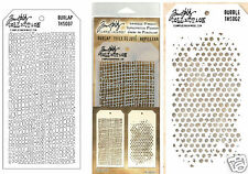TIM HOLTZ COLLECTION Set of 2 Layering Stencil BURLAP & BUBBLE THS007 THS002