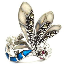 ART NOUVEAU WHITE GILSON OPAL MARCASITE DRAGONFLY RING 925 STERLING SILVER 7