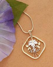 "Flower (Hibiscus) Pendant , Bahamas 15 Cents Coin Hand Cut 1"" Diameter ( # 18 )"