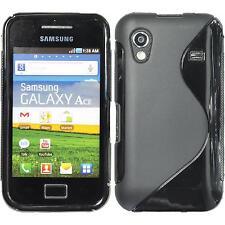 Silikon Hülle für Samsung Galaxy Ace schwarz S-Style + 2 Schutzfolien