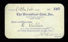 THE BREAKFAST CLUB 1930 MEMBERSHIP CARD RUDY VALLEE 502 PARK AVENUE NEW YORK