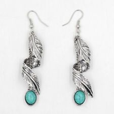 Silver Tassel Leaf Turquoise Ethnic Natural Stone Earrings