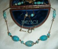 ART DECO TURQUOISE HUBBELL CZECH GLASS BEADS ROLLED GOLD VINTAGE NECKLACE
