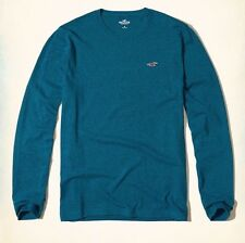 Hollister/Abercrombie Men Size Large Jersey Crew Long Sleeve T-Shirt Turquoise