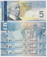 Canada $5 (2006) BC-67a  aUNC/UNC Banknotes Prefix AOK/AOR/AOY ✹DB L57✹