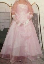 Girls Pink Organza Wedding Flower Girl Pageant Party Dress & Shawl Size 4