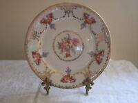 """Vintage 8 1/4"""" Floral Plate A C S Bavaria Roses/ Flowers/ Gold Trim  EUC!"""