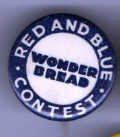 GROCERY Store Old pin WONDER BREAD pinback BAKERY Red & Blue CONTEST Supermarket