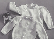 Vintage Knitting PATTERN to make Baby Sweater Cardigan & Pullover Sz 1, 2, 3
