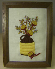 VINTAGE FINISHED CREWEL EMBROIDERY PICTURE JUG with DRIED PODS & PUSSYWILLOWS